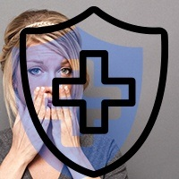 Woman holding mouth overlaid with animated emergency cross and shield