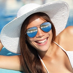 Huntington Beach Cosmetic Dentist Lady at beach smiling