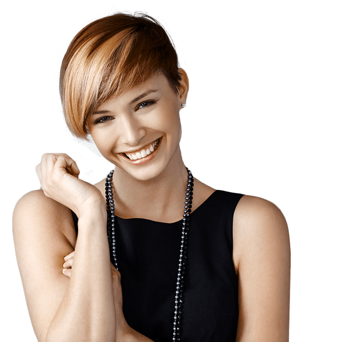 Young lady with bead necklace smiling brilliantly