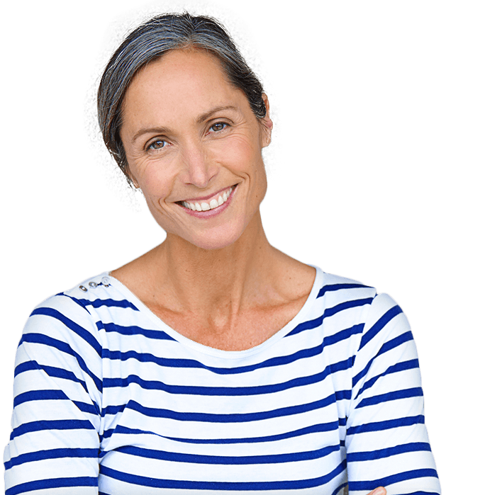 Elderly lady in striped shirt with youthful smile